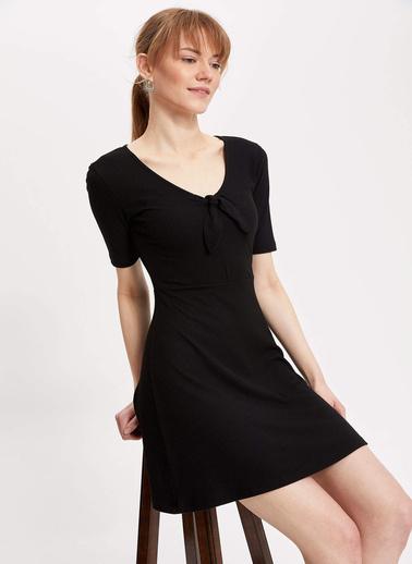DeFacto V Yaka Örme Elbise Siyah